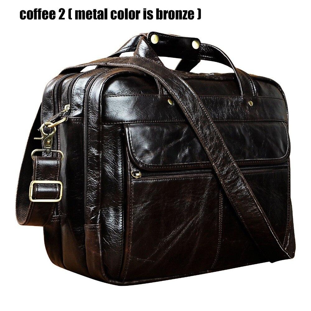 Maletín de estilo antiguo de cuero Real de alta calidad para hombres, maletín de negocios de 15,6