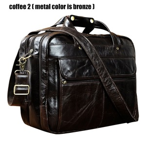 "Image 1 - Top Quality Men Real Leather Antique Style Briefcase Business 15.6"" Laptop Cases Attache Messenger Bags Portfolio B1001"