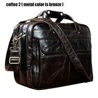 Top Quality Men Real Leather Antique Style Briefcase Business 15.6 Laptop Cases Attache Messenger Bags Portfolio B1001