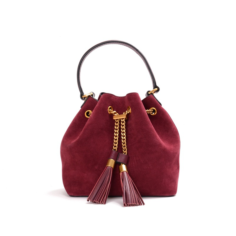 Women Vintage Handbags Genuine Leather Cowhide Bag Lady Totes Bags Nubuck Leather Tassel Chains Design Solid Fashion Bucket 2017 women bucket bags lady cowhide genuine leather shoulder strap messenger bags female simple fashion casual chains mini bags