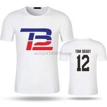 781bbb77a LEQEMAO Homens Moda de Impressão T-shirt de Manga Curta O-pescoço Camiseta  de Tom Brady Jersey Homme Modal Algodão Marca Top Cam.