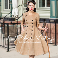 FREE SHIPPING Le Palais Vintage 2015 New Winter Autumn Wool Long Coat Double Breasted Slim Solid