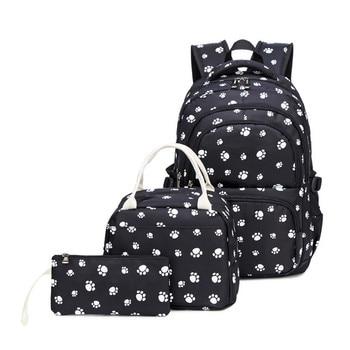 3pcs/set Women Backpack Printing Nylon School Bags For Teenager Girls Preppy Style Rucksack Cute Book Bag Mochila Feminina 2016 new cute 3d panda print schoolbag teenager nylon fabric backpack girls book bags for women mochila packbag kids van owl