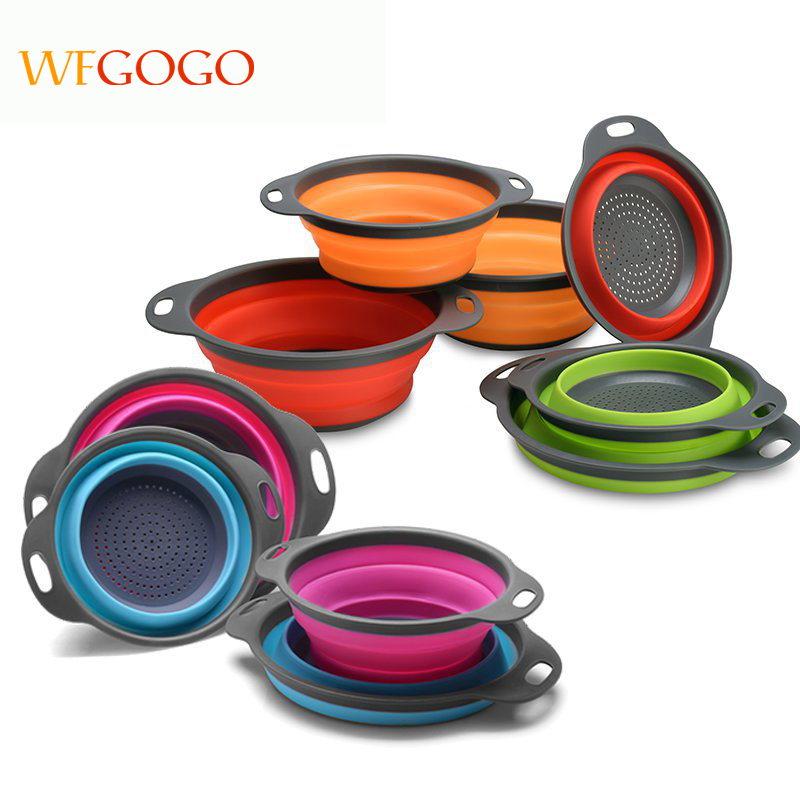 WFGOGO Collapsible Colanders Set, Food-Grade Silicone kitchen Strainer Space-Saver Folding Strainer Colander, Dishwasher-Safe