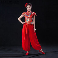 Chinese folk dance costume clothing hanfu ancient fan dance traditional Chinese dance costumes Stage dance wear KK800