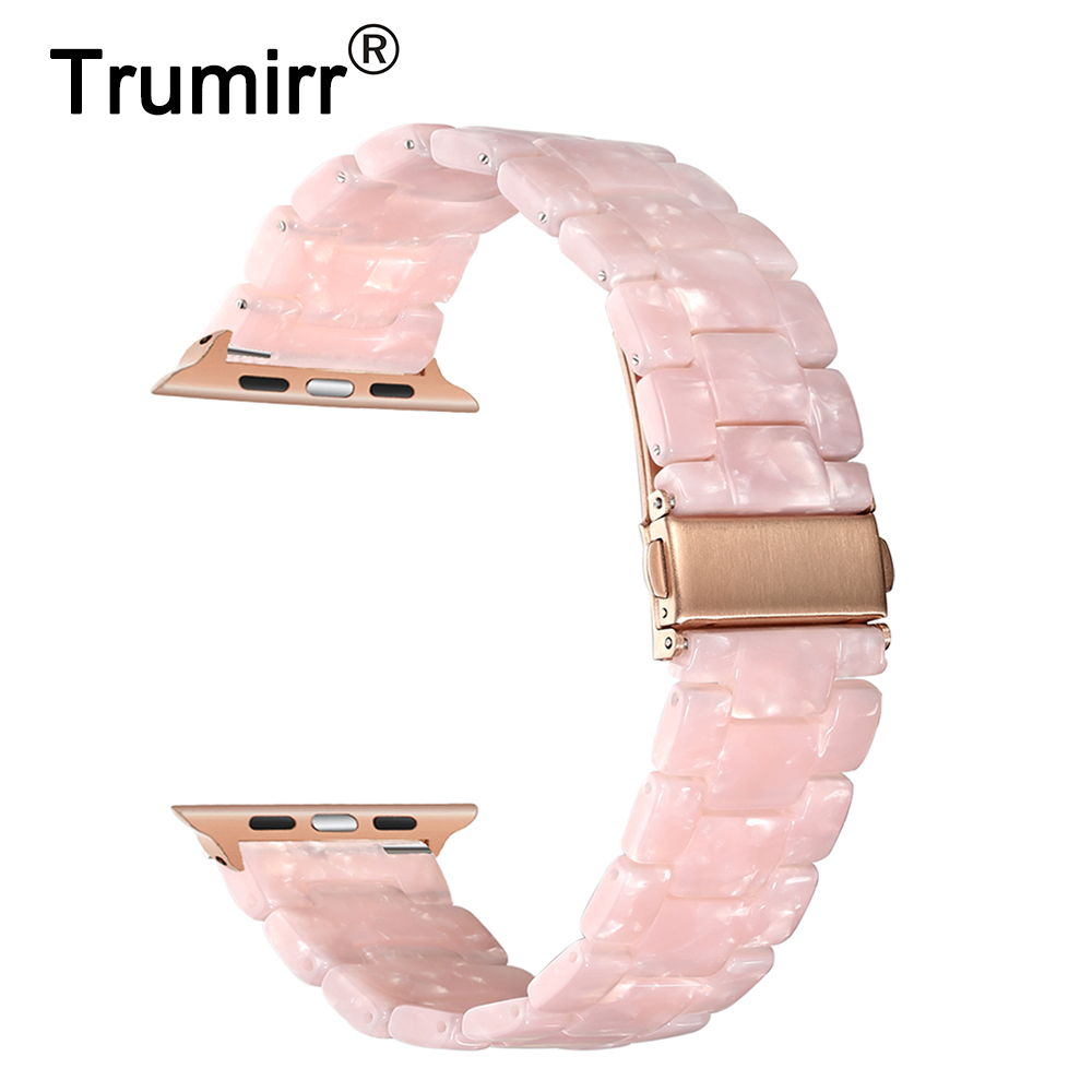Trumirr Immitation Ceramic Watchband for iWatch Apple Watch 38mm 40mm 42mm 44mm Series 1 2 3 4 Resin Band Wrist Strap Bracelet цена