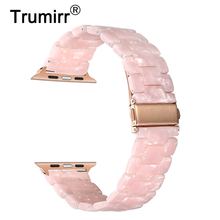 Trumirr Immitation Ceramic Watchband for iWatch Apple Watch SE 38mm 40mm 42mm 44mm Series 1 2 3 4 5 6 Resin Band Wrist Strap