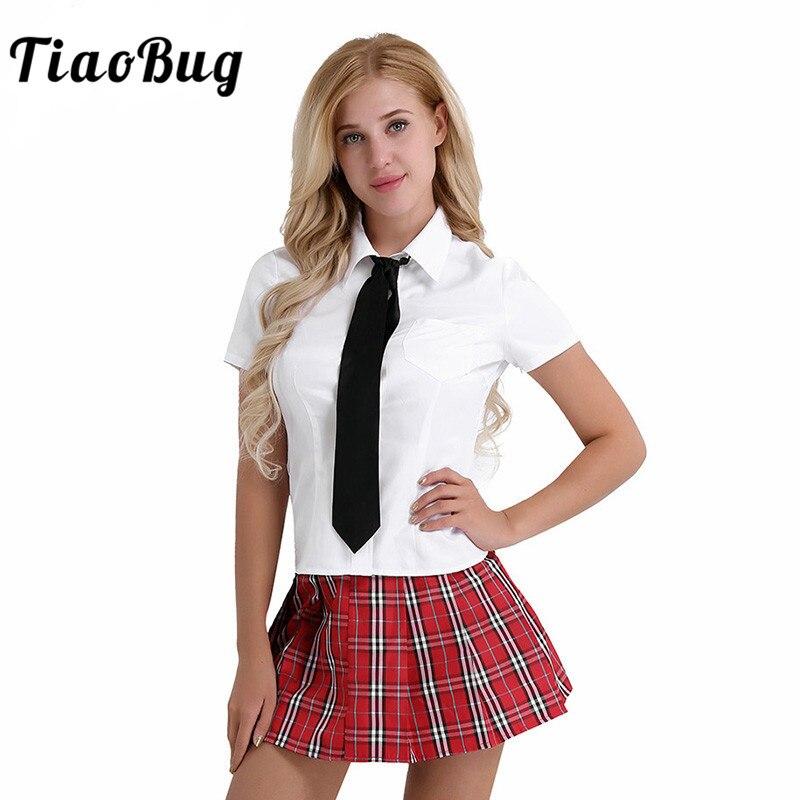 TiaoBug Women Sexy Costumes Japanese Student School Girl Uniform Cosplay Costume Hot White Korea Girl Shirt Red Skirt Tie Set polka dot