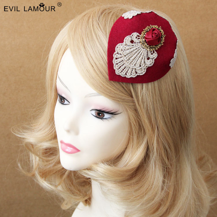 Princess lolita hat British vintage small hat headdress party dress hat hairpin Burgundy wine red hat hair accessories FJ - 109 ...