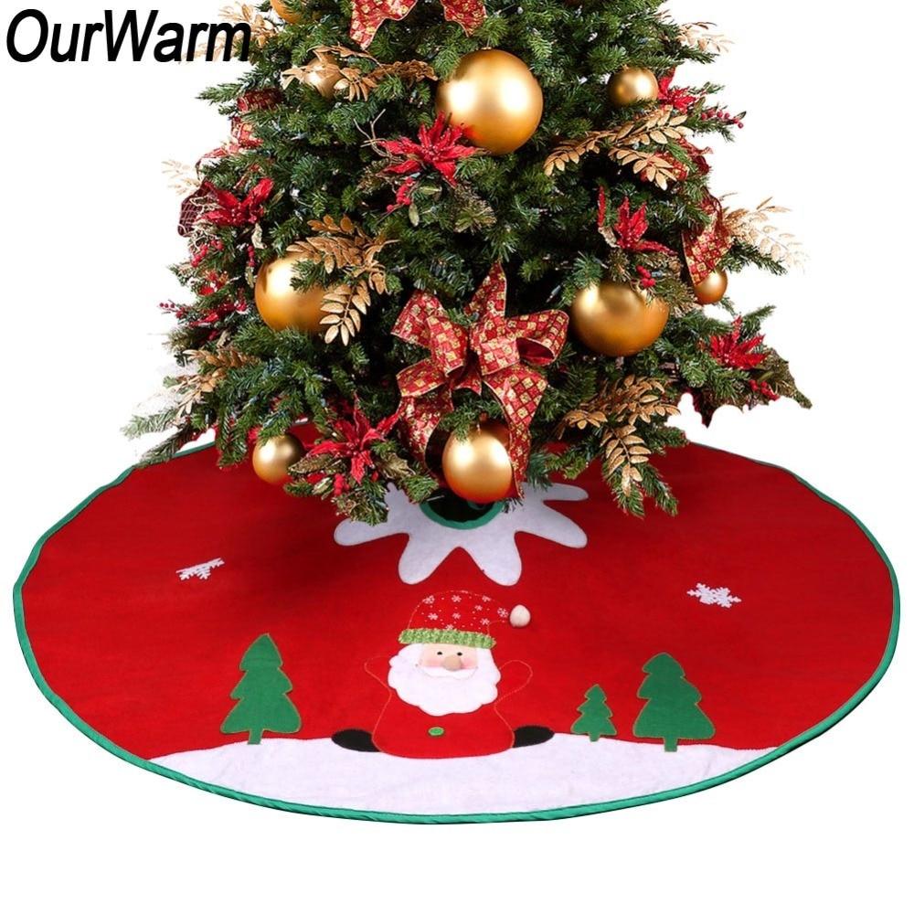 ourwarm christmas tree skirt santa tree skirt crochet pattern 90cm decorations for home new year red christmas tree skirt in tree skirts from home garden