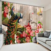 3D Шторы Европейский Стиль Одежда высшего качества современный Домашний Декор Пользовательские 3d фото павлин цветок Шторы для гостиной