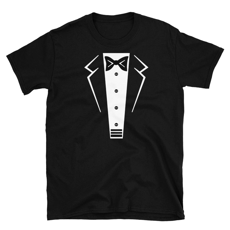 Tuxedo With Bowtie T-Shirt Bachelor Black Tuxedo Unisex Slogan Tee Stylish Grunge Cotton Graphic Grunge quote art girl t shirts