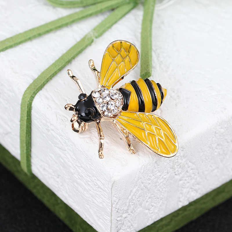 Kristal Kuning Hitam Bee Bros Untuk Wanita Dan Pria Fashion Kualitas tinggi Serangga Bros Hadiah PinsWedding Broche Pin Syal