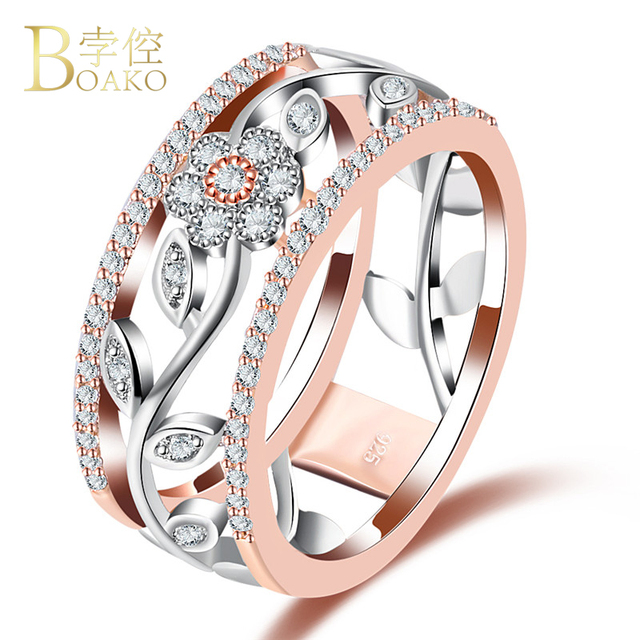 37e18ae0c34b ROXI Round Crystal Ring Rose Gold Silver Color Flower Rings Wedding Band  Engagement Jewelry For Women