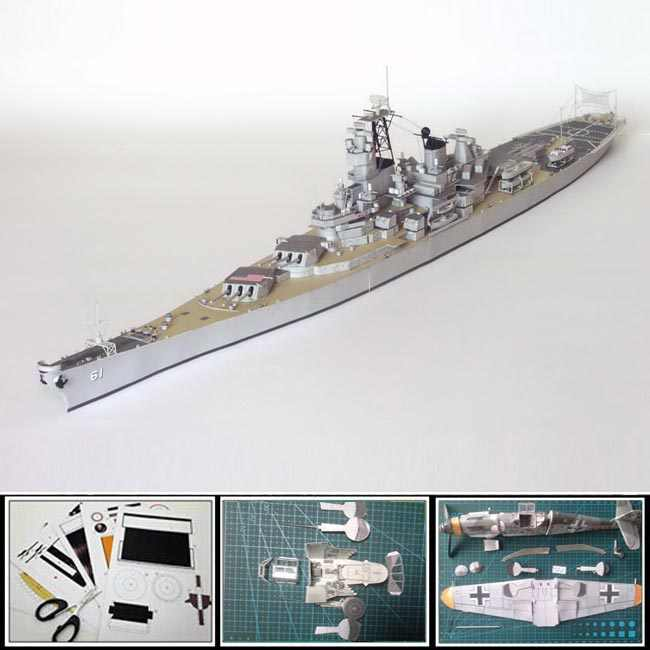 3d paper model ship World War II US battleship IOWA military