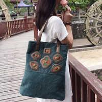 YUBIRD Big Female Shoulder Bag Vintage Canvas Tote Bag Floral Cloth Shoulder Bag for Women Hand Bags bolsos grandes sac toile