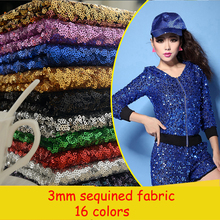 Fashion!16 Colors 3m/lot 3mm Sequined Fabric Clothing Tablecloth Table Flag Costume Wedding Stage Decoration Cloth