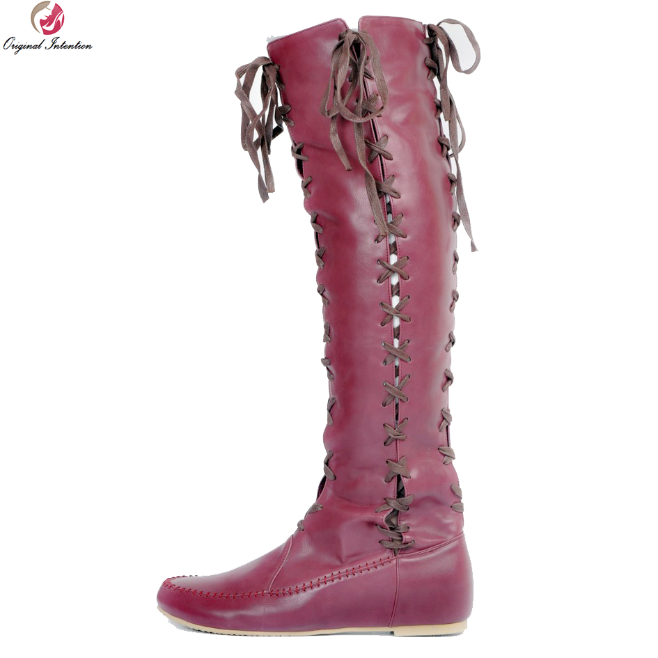 Original Intention Women Knee-High Boots Stylish Round Toe Height Increasing Boots Sexy Wine Red Yellow Shoes Woman US Size 4-15 original intention winter women over the knee boots fashion height increasing boots elegant wine red shoes woman us size 4 15