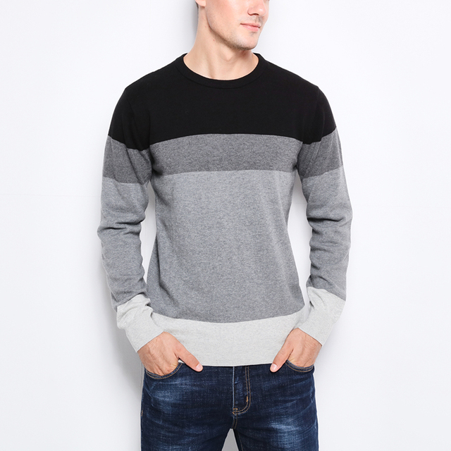 Casual O-Neck Striped Slim Fit Knitting Men's Sweaters  5