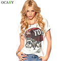 Cat Print Summer Ladies Shirts Casual Cotton Women Tops and Blouse White Blusas Mujer Street Chmisier Plus Size Camisas 2016 New