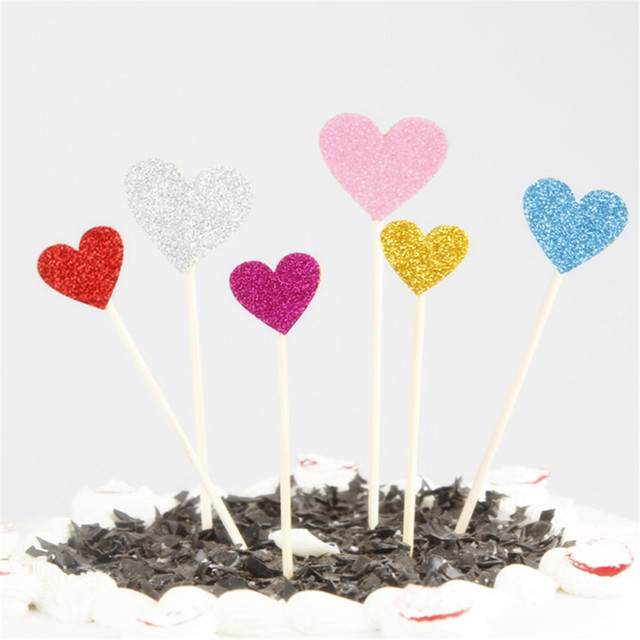 40 Pcs Hearts Cupcake Toppers
