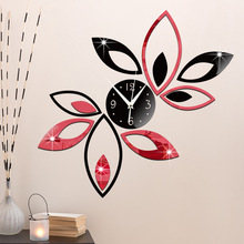 2016 hot sale sitting room adornment 3 d bracket clock DIY fashion wall clock double color lotus clock free shipping