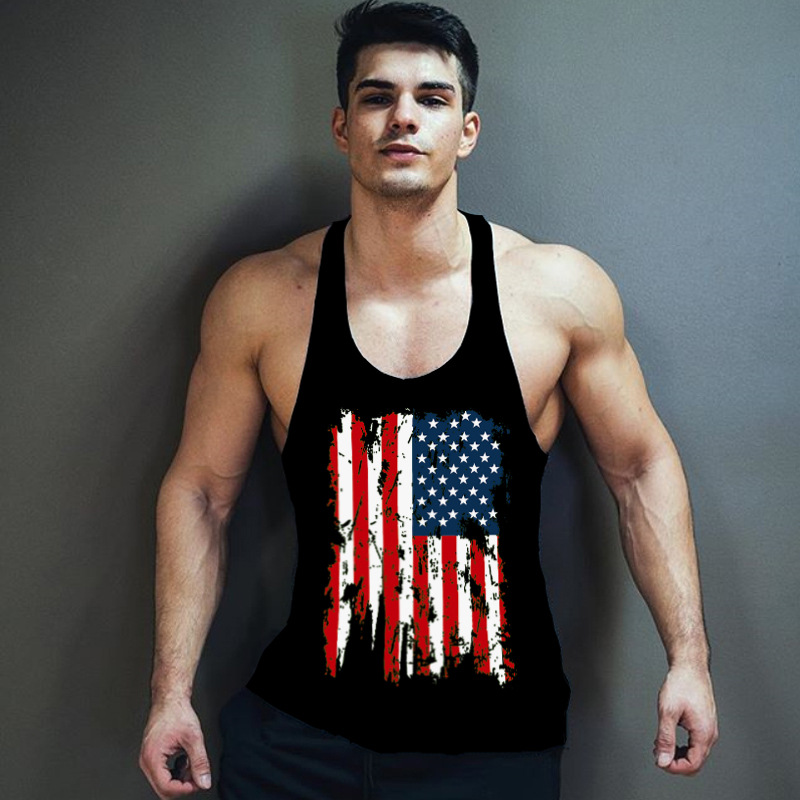 Mens Summer American Flag Patriotic Tank Top Casual Cool Muscle Sleeveless Tee Gym Yoga Workout Shirt Independence Day