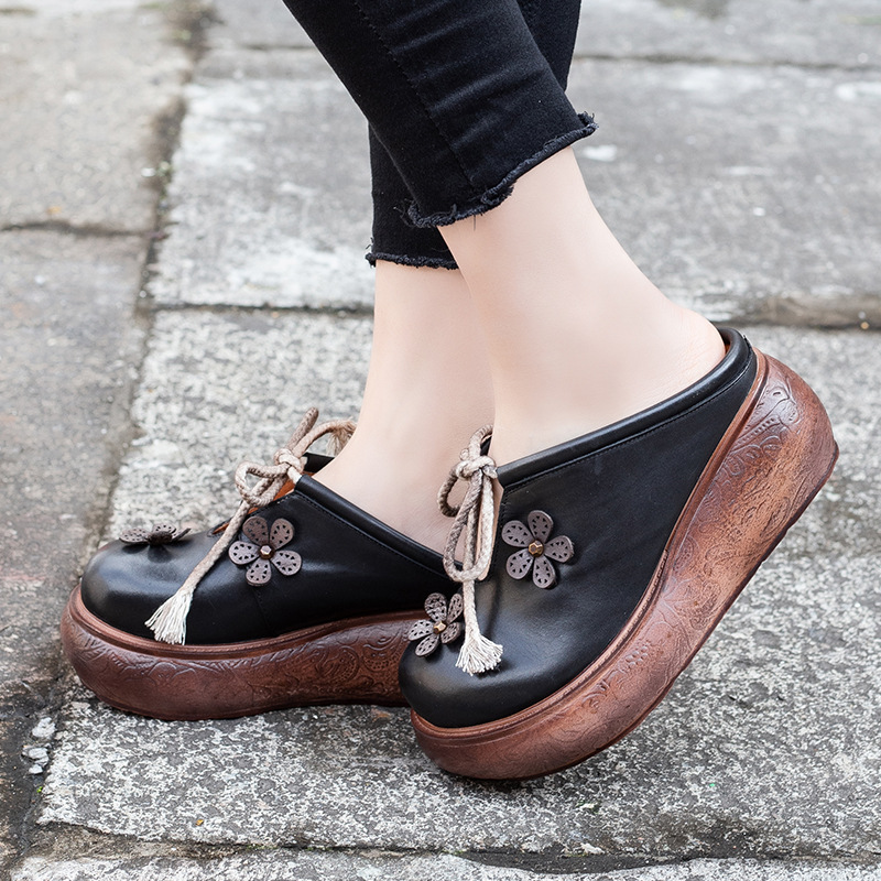Artdiya Folk Style Genuine Leather Women's Shoes Spring and Summer New Flower Lace up High Heels Wedge Heels Handmade Sandals-in Slippers from Shoes    3