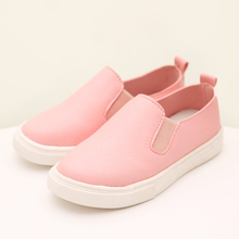 New Brand Fashion Style Children Shoes Boys Girls Solid Leather Shoes White Black Pink Kids Sneakers