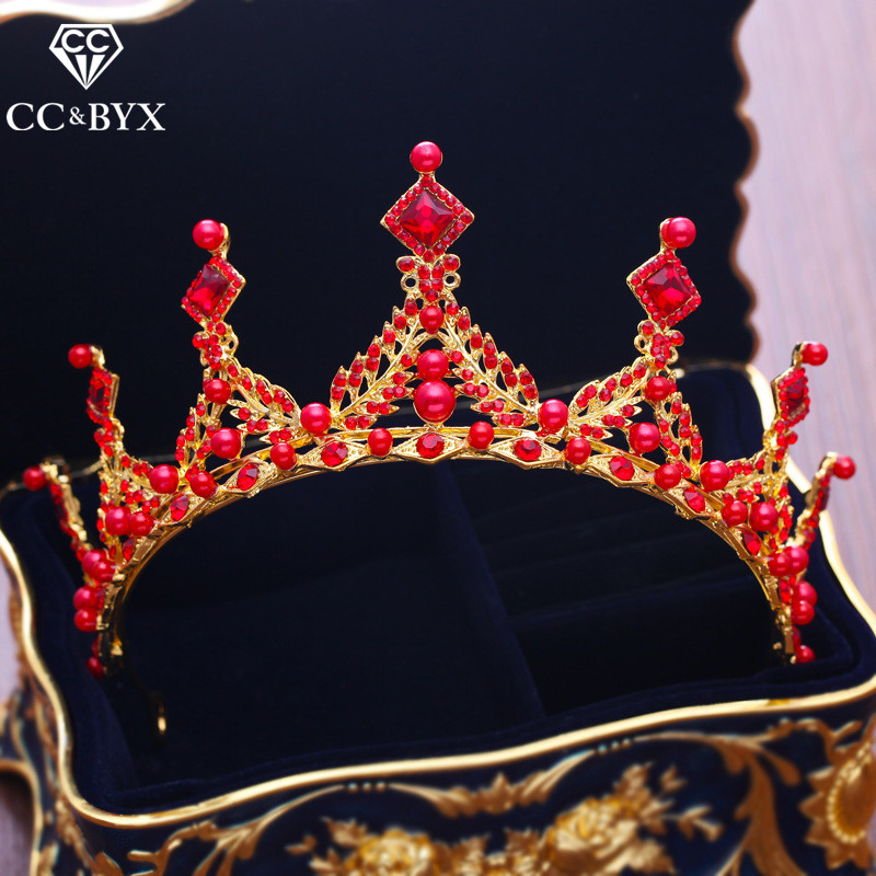 CC tiaras and crowns engagement wedding hair accessories for bridal princess jewelry red cz stone crystal beads fine gift XY251