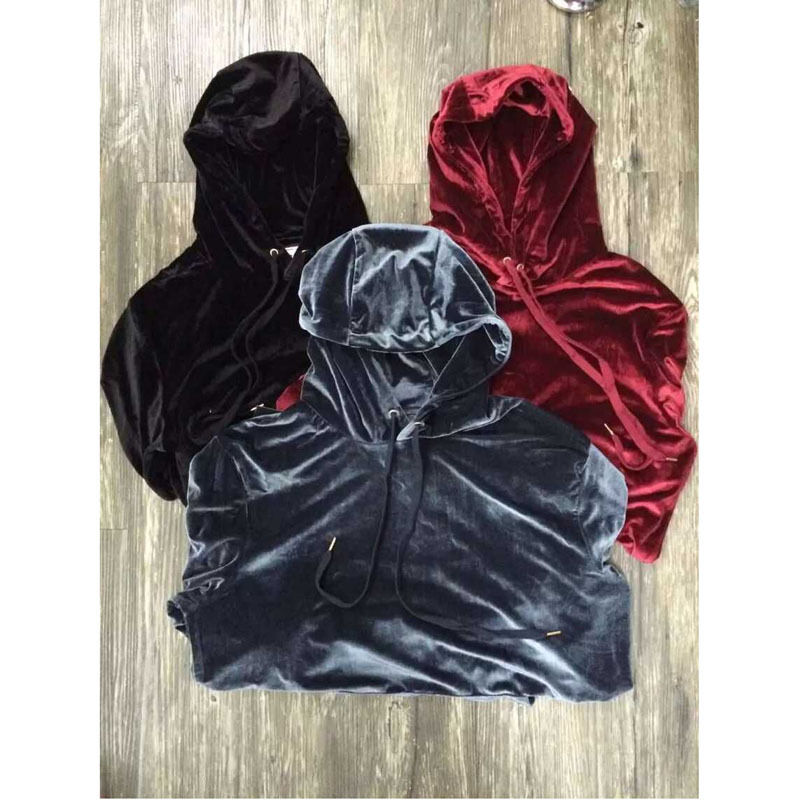 2016 New Arrived Good Quality Hip Hop Solid Velvet Hoodie And Pants Mens Sweat Suits Kanye
