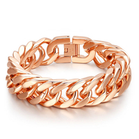 15mm Cool Fashion High Quality 316L Stainless Steel Pop Punk Rock Style Round Chain Link Bracelet Men Rose gold color jewelry