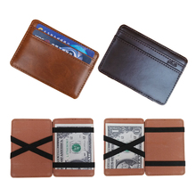 2017 New arrival High quality leather magic wallets Fashion men money clips card purse 2 colors