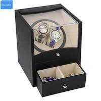 특별 공급 자동 시계 와인 더 박스 2 서랍 스토리지와 시계 메커니즘에 대 한 모터 상자 dhl 배송 빠른 보내기|box for watches|automatic watch winder boxwatch winder box -