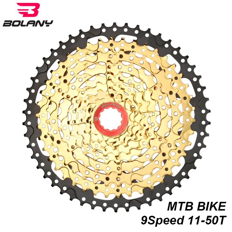 BOLANY Cassette 9 Speed 11-50T Freewheel Black Gold Steel MTB Mountain Bike Flywheel Sprocket For Shimano Parts