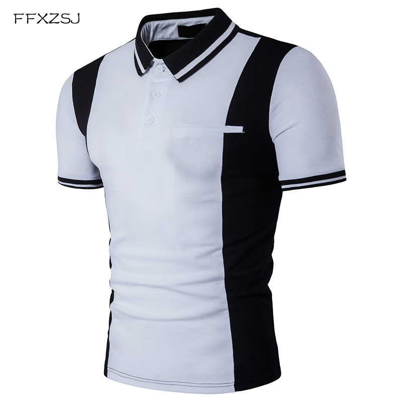 FFXZSJ New Black White Patchwork Mens   Polo   Shirt 2017 Trend Summer   Polos   Shirt Men Slim Cotton Casual Brand Men Clothing Plus
