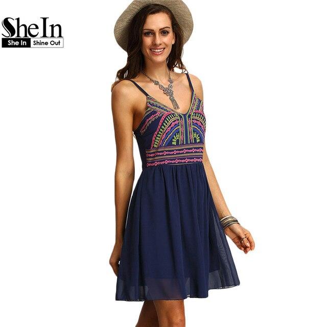 Shein imprimir vestidos boho ropa de mujer nueva llegada de las mujeres atractivas multicolor correa de espagueti corto vestidos de verano de verano