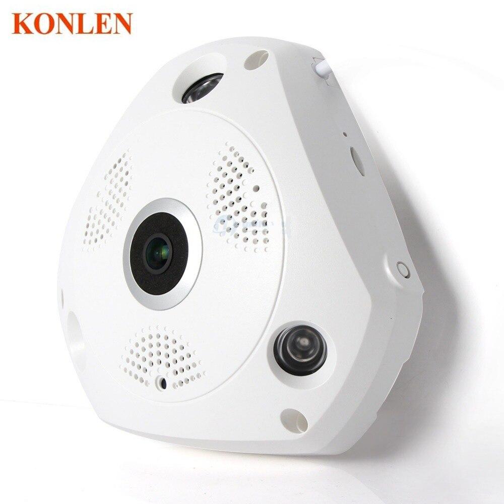 imágenes para HD Red WiFi 3MP Cámara IP Panorámica de 360 Grados de ojo de Pez de Seguridad CCTV Kamera Vídeo IR-CUT Bidireccional de Audio Remoto de Almacenamiento KONLEN