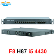 Network Security Server 1U Firewall PC with 8 ports Gigabit lan 4 SPF i5 4430 3.2Ghz 2G RAM 8G SSD Mikrotik PFSense ROS