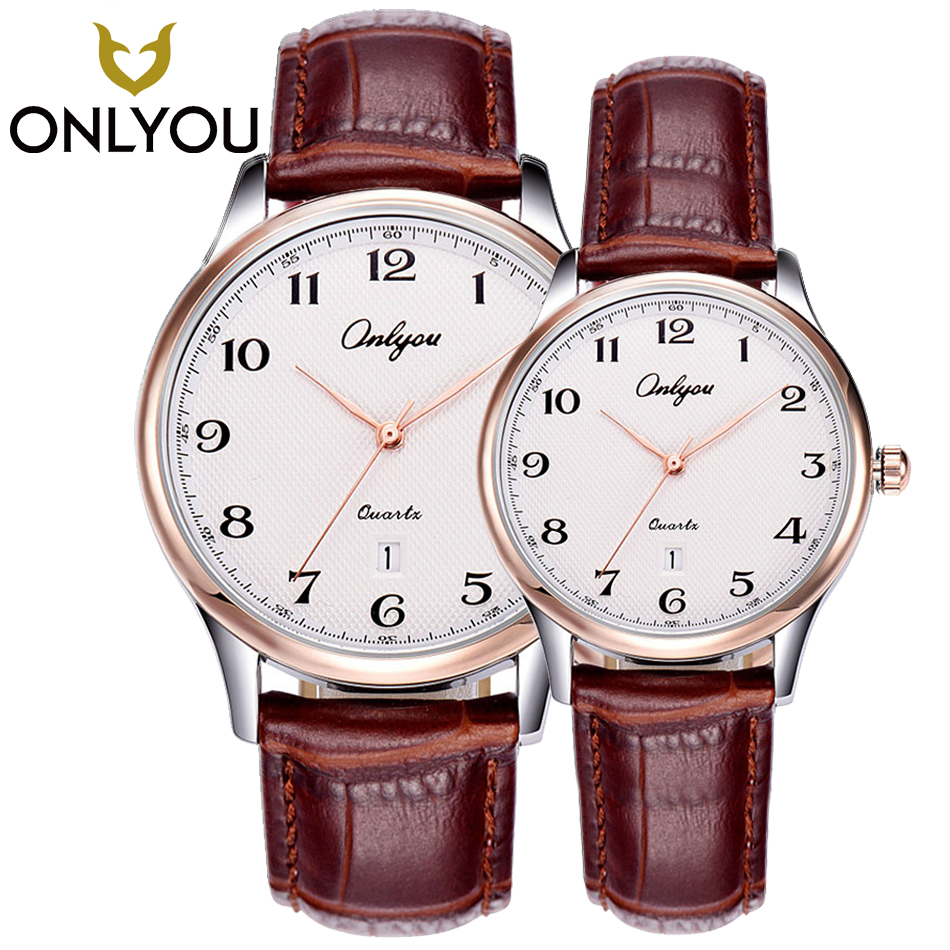 ONLYOU 2PCS Fashion Math Casual Quartz Men Watches Leather Band Waterproof Women Sport Watch for Boys and Girls relogio feminino купить недорого в Москве