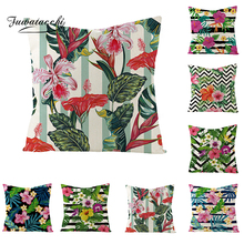 Fuwatacchi Floral Cushion Cover Pink Flowers Green Striped Throw Pillow Small Bright Flower Pillowcases 45x45 Square Linen