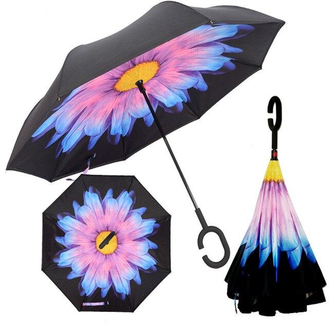 Invertiert Dach Doppelschicht sonnenschirm Frauen Regen Reverse Regenschirme männlichen guarda chuva invertido paraguas parapluie Winddicht