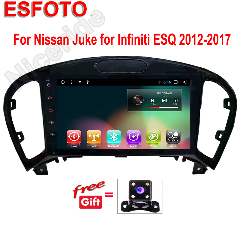 Android 7.1 Car DVD Player for Nissan Juke for Infiniti ESQ 2012-2017 GPS Navigation Stereo multimedia 2 din car audio Wifi BT