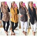 Plus Size S~XL Fashion Outwear Belt Waist Turn down collar Bandage Autumn and Winter Women Woolen Coats Vest Tops