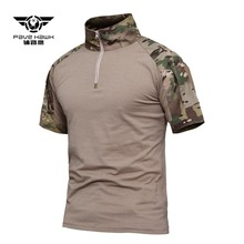 Outdoor Summer Camping Hunting Training Military Lapel Short Sleeve Breathable T Shirt Army Fan CS Tactical Cmouflage Clothes emersongear tactical short sleeve t shirt lightweight soft airsoft military army training shirt outdoor hunting camping clothing