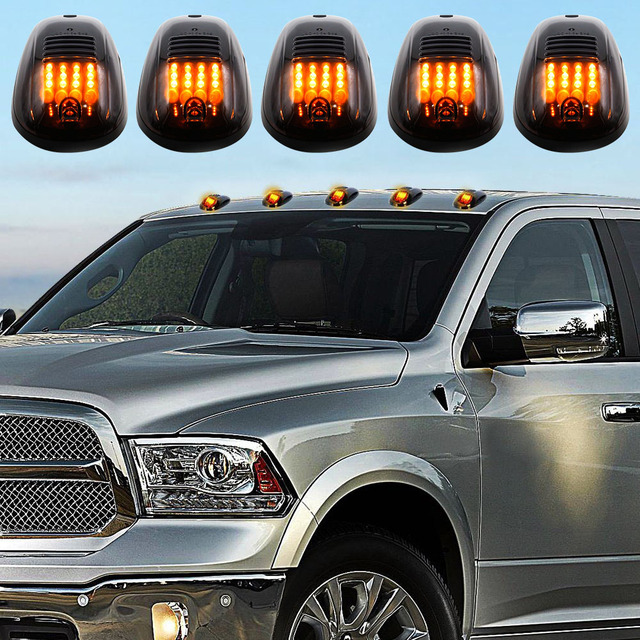 Liplasting 5x Smoked Lens Cab Roof Running Amber 12 Led Marker Lights For Dodge Ram 03 16 Car Light Accessries