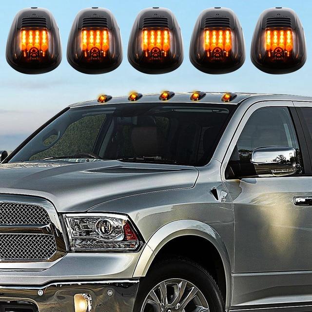 Liplasting 5x Smoked Lens Cab Roof Running Amber 12 Led Marker Lights For Dodge Ram 03 16 Car Light Accessries