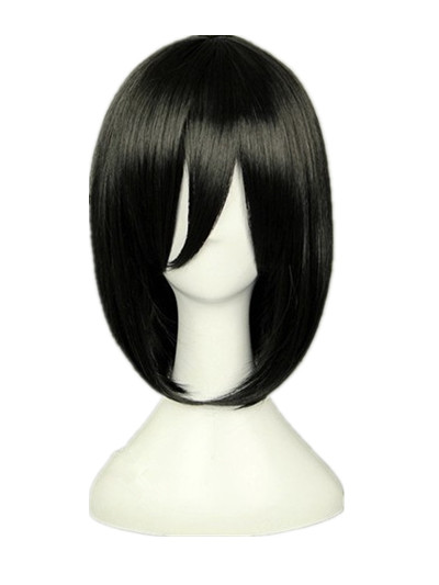 Realistic Fei-show Syntheitc Heat Resistant Fiber Short Wavy Black Hair Wig Costume Cartoon Role Cosplay Salon Party Women Student Bob Wig Synthetic None-lacewigs Hair Extensions & Wigs