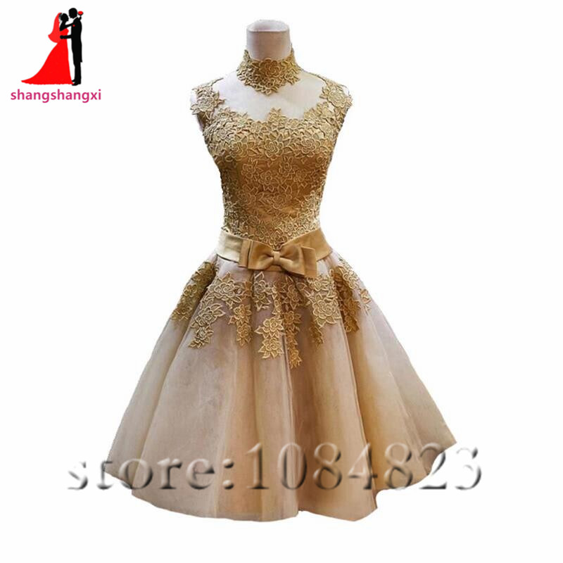 2017 Gold Cheap Short Prom Dresses Plus Size High Neck Appliques A Line Party Homecoming Dress For Gils Vestidos De Festa