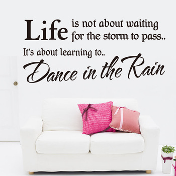 Life is Not About Waiting for the Storm to Pass Quotes Wall Decal Inspirational Lettering Stickers for Home Decor hearth